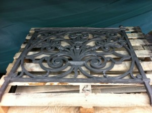 Ornate Cast Iron Fence panel after blasting