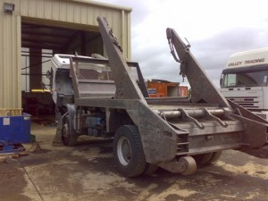 Skip lorry lhs after paint removal