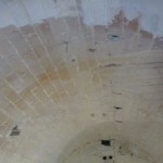 part cleaned limestone ceilings