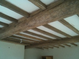 Living Room Beams After Blast Cleaning