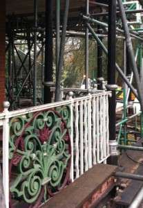 Ornate Cast Iron Fence panel before blasting in situ